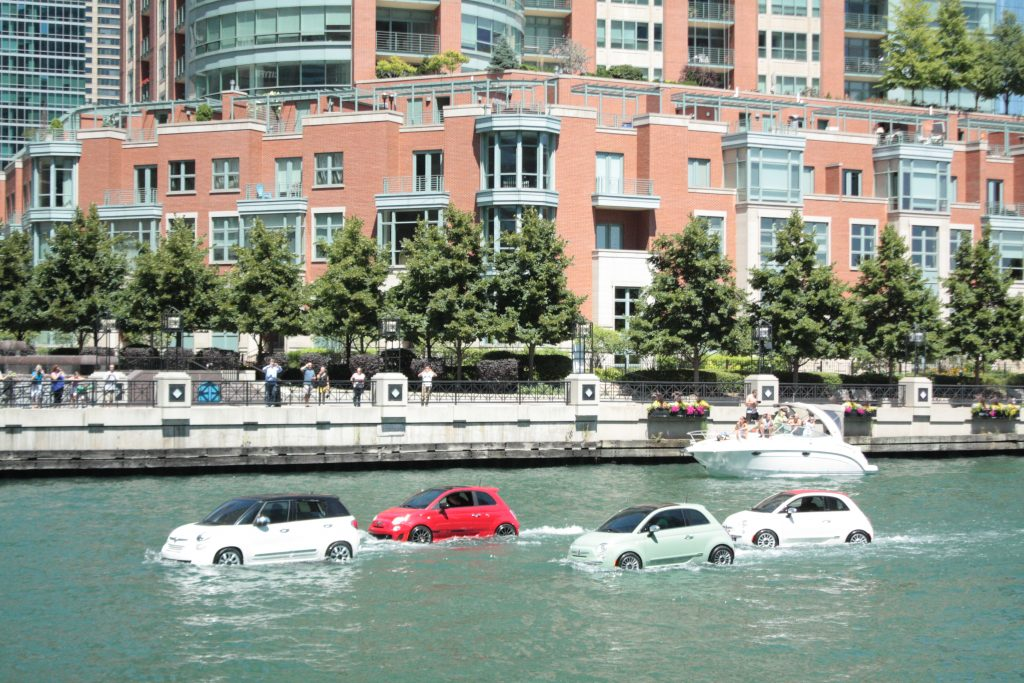 Cars driving on river!