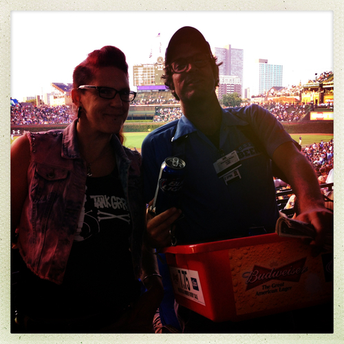 With a beer seller at Wrigley Field